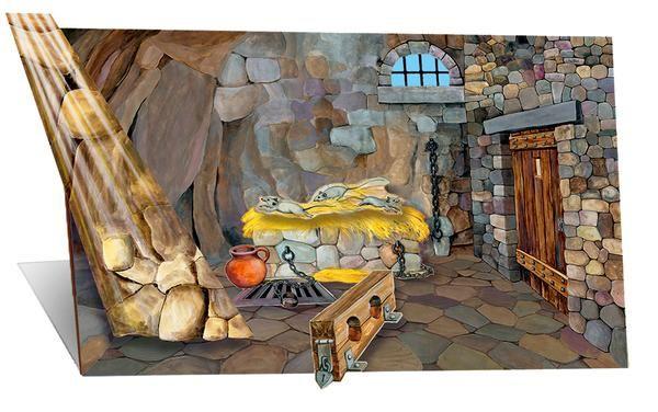 Hintergrund mit Szenenaufsatz: Gefängnis - GROSS